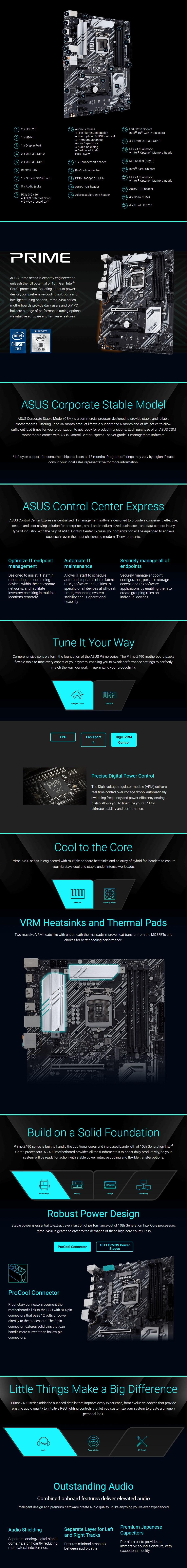 ASUS PRIME Z490-P/CSM Intel LGA 1200 ATX Motherboard - Overview 1