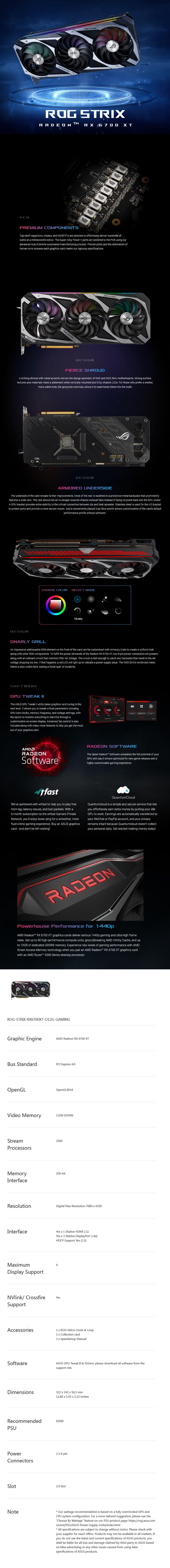 ASUS Radeon ROG Strix RX 6700 XT OC Gaming 12GB Video Card - Overview 1