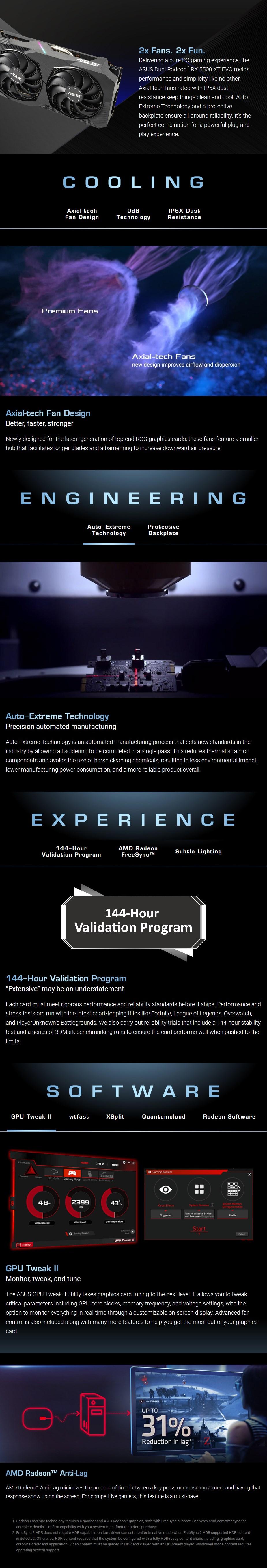 ASUS Radeon RX 5500 XT Dual EVO OC 8GB Video Card - Overview 1