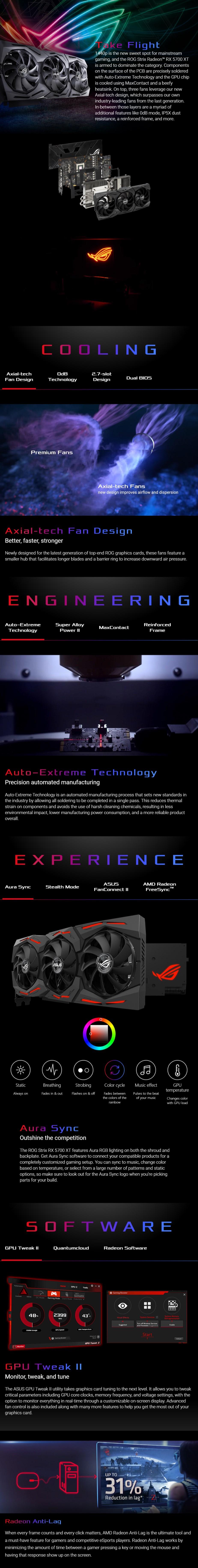 ASUS Radeon RX 5700 XT ROG Strix OC 8GB Video Card - Overview 1