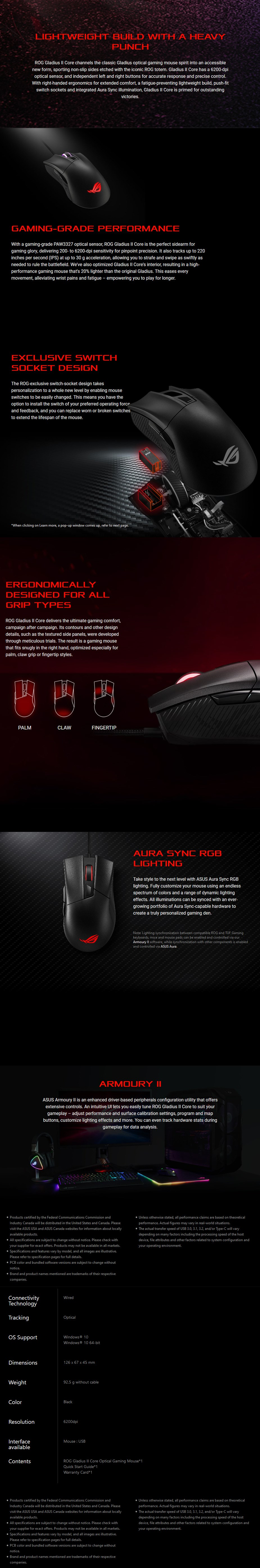 ASUS ROG Gladius II Core P507 Gaming Mouse - Desktop Overview 1
