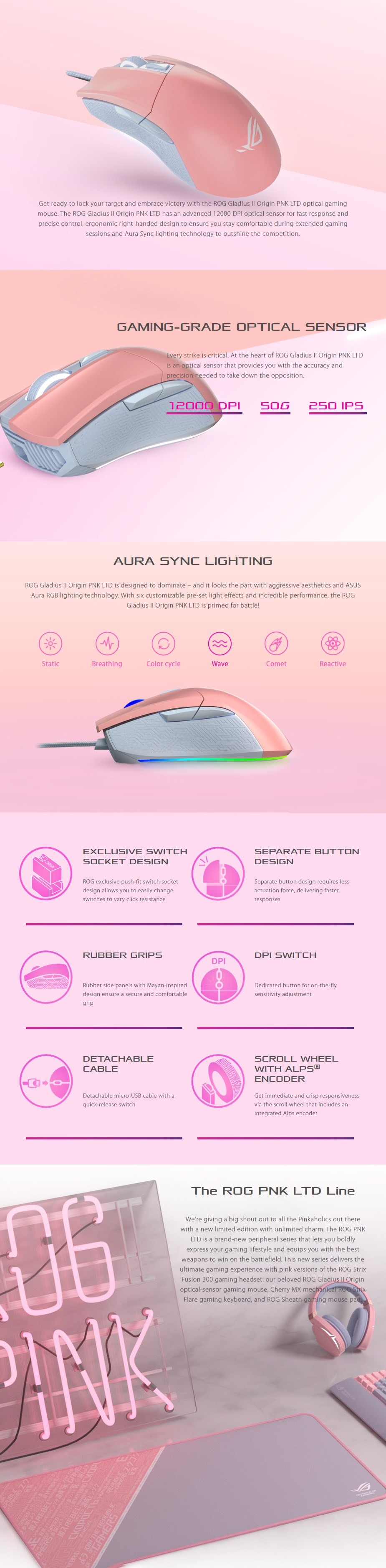 ASUS ROG Gladius II RGB Optical Gaming Mouse - Pink Edition - Overview 1