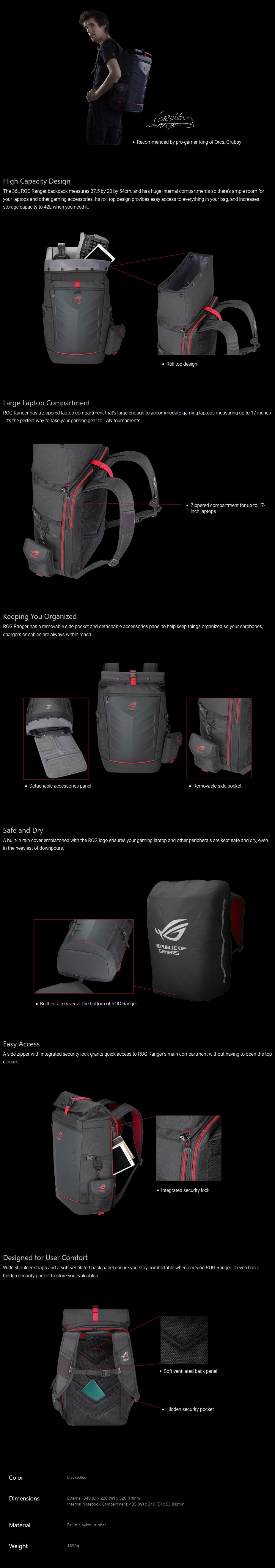 """ASUS ROG RANGER Backpack for 17"""" Devices - Overview 1"""