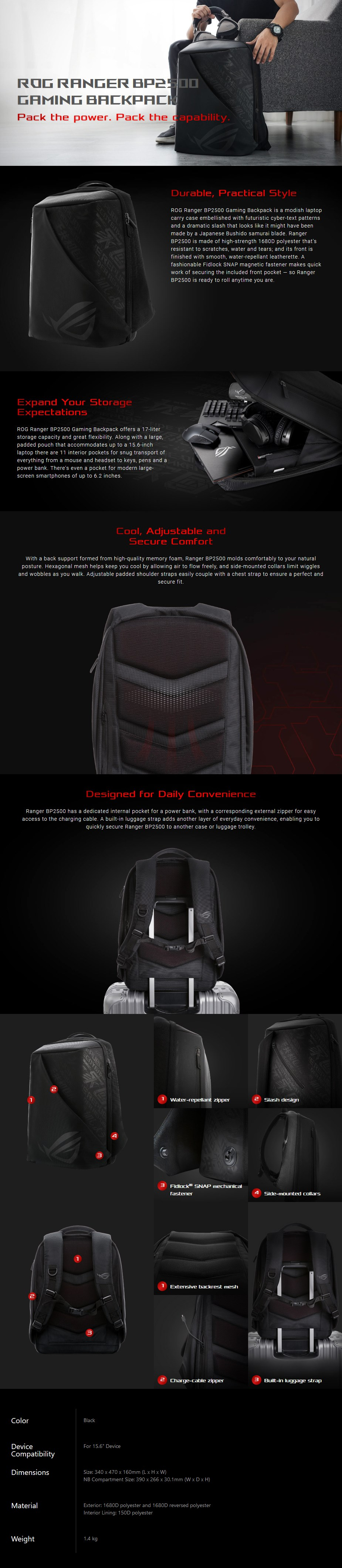 ASUS ROG RANGER BP2500G Backpack - Overview 1