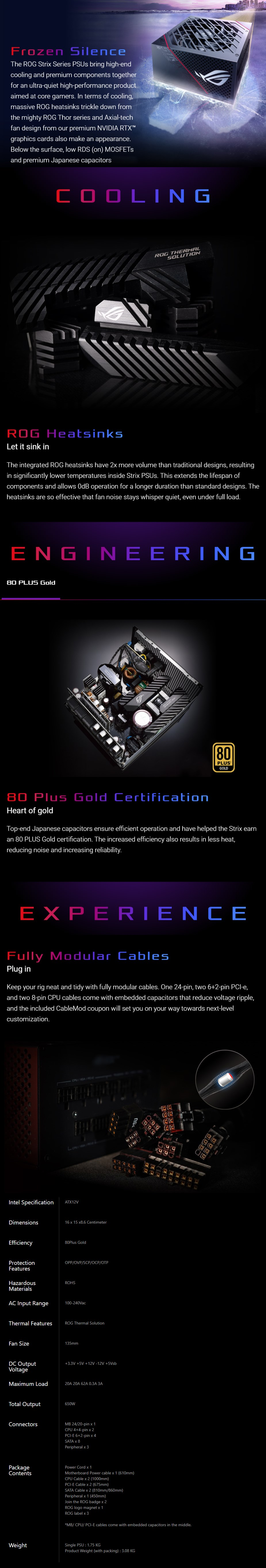 ASUS ROG Strix 650W 80 Plus Gold Modular Power Supply Unit - Overview 1
