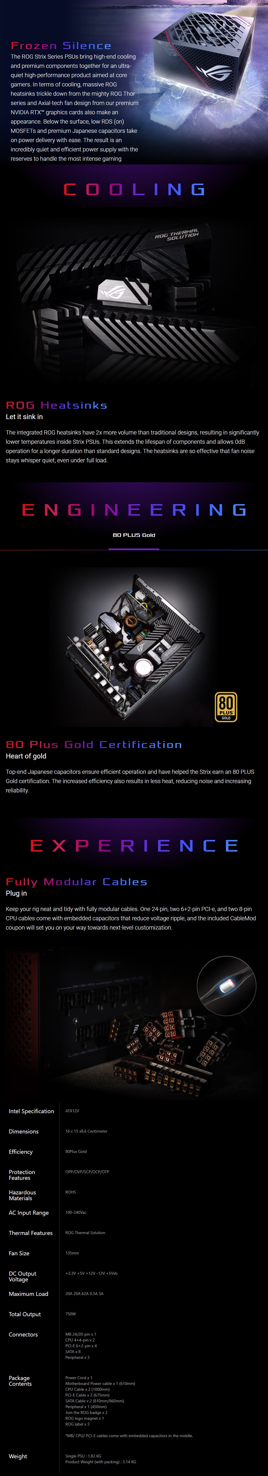 ASUS ROG Strix 750W 80 Plus Gold Modular Power Supply Unit - Overview 1