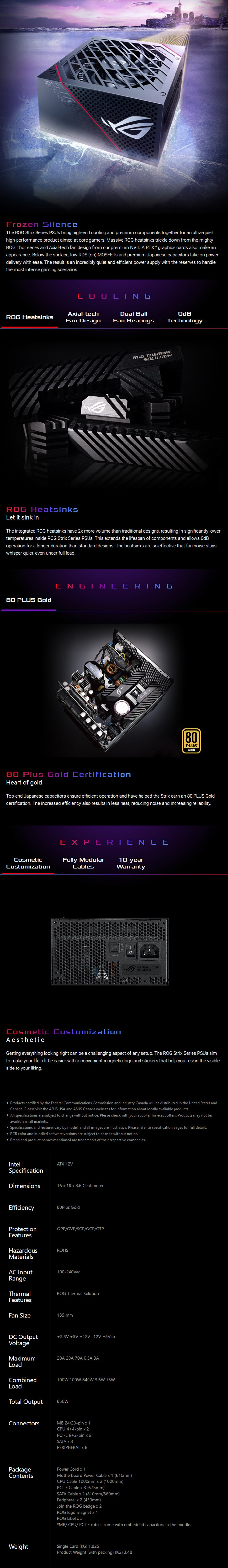 ASUS ROG Strix 850W 80+ Gold Fully Modular Power Supply - Overview 1