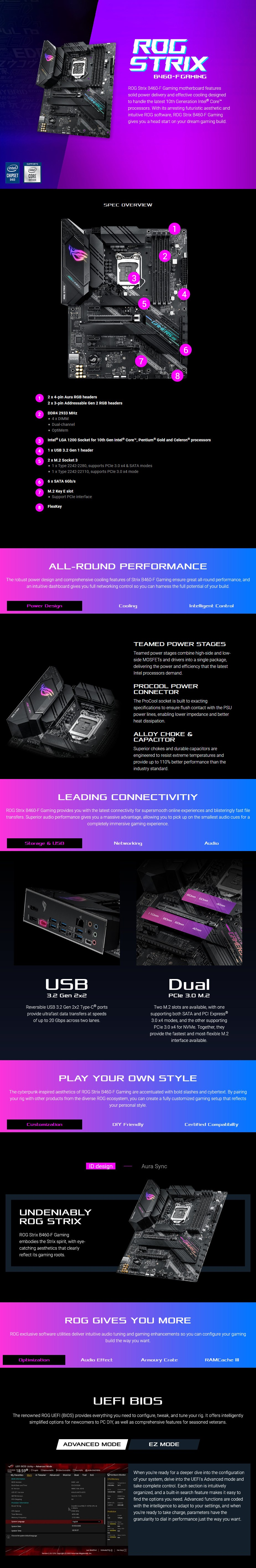 ASUS ROG STRIX B460-F GAMING LGA 1200 ATX Motherboard - Overview 1