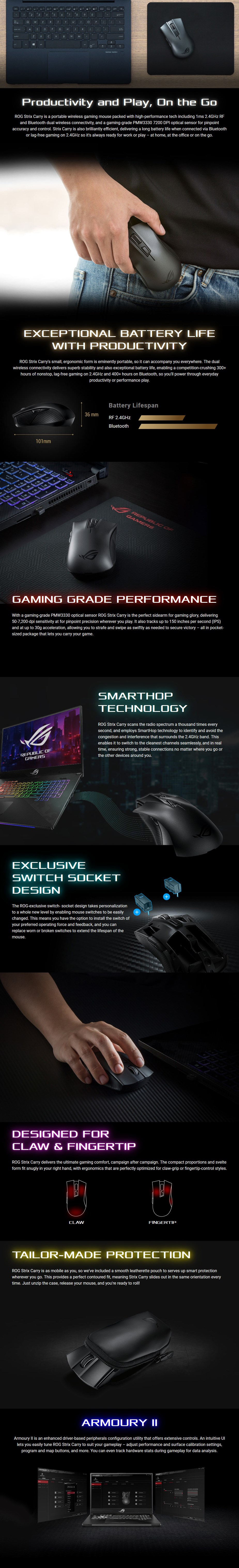 ASUS ROG Strix Carry Wireless Optical Gaming Mouse - Overview 2
