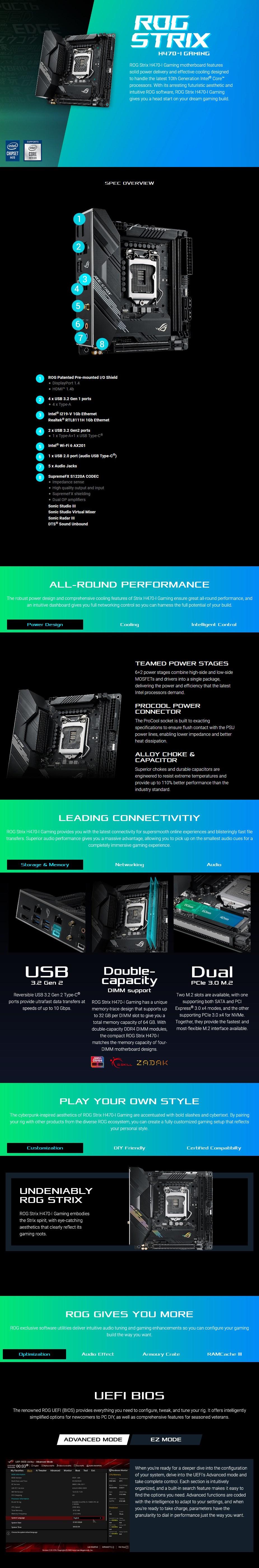 ASUS ROG STRIX H470-I GAMING LGA 1200 Mini-ITX Motherboard - Overview 1