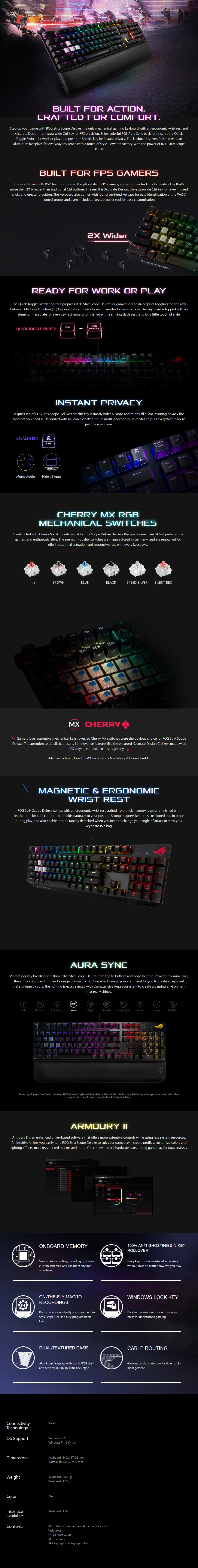 ASUS ROG Strix Scope RGB Mechanical Gaming Keyboard - Cherry MX Brown - Overview 1