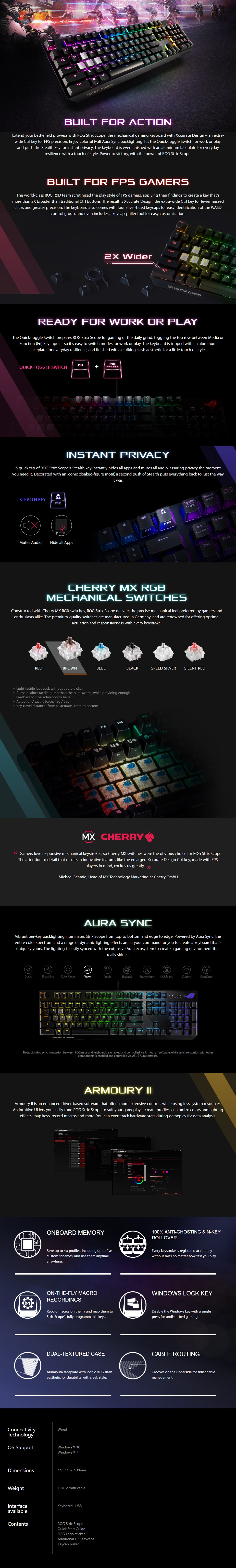 ASUS ROG Strix Scope RGB Mechanical Gaming Keyboard - Cherry MX Black - Overview 1