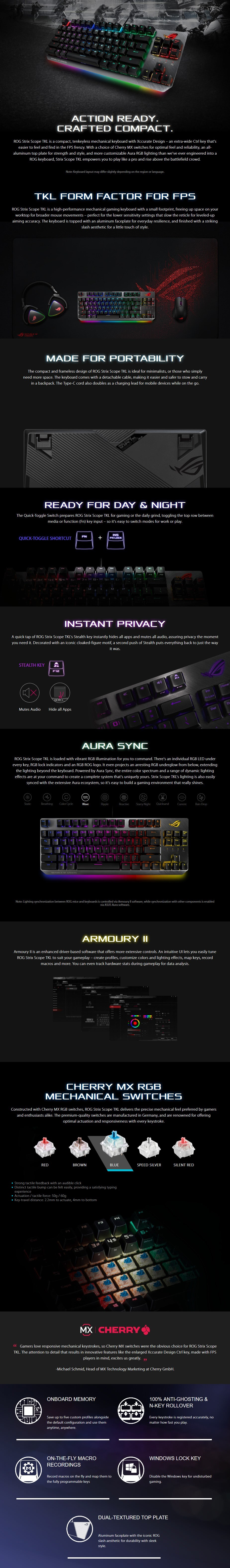 ASUS ROG Strix Scope TKL Mechanical Gaming Keyboard - Cherry MX Blue - Overview 1