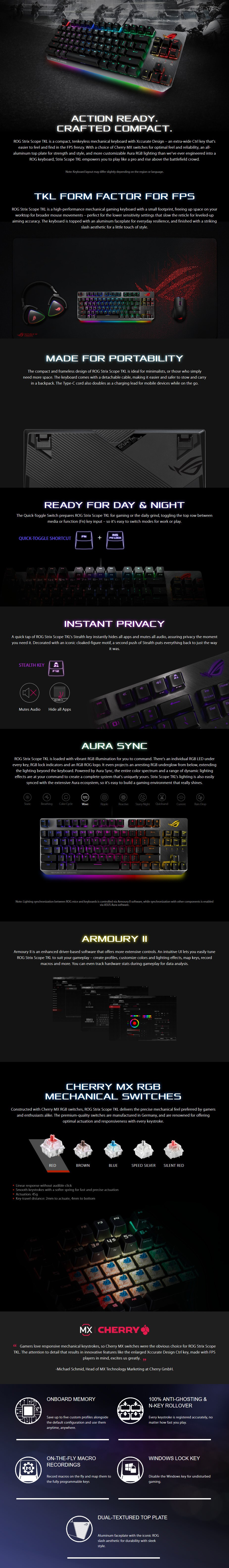 ASUS ROG Strix Scope TKL Mechanical Gaming Keyboard - Cherry MX Red - Overview 1