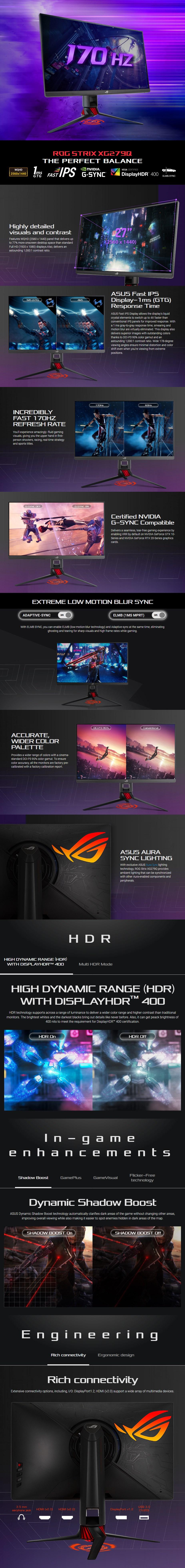 "ASUS ROG Strix XG279Q 27"" 170Hz WQHD 1ms G-Sync Ready HDR Gaming Monitor - Overview 1"