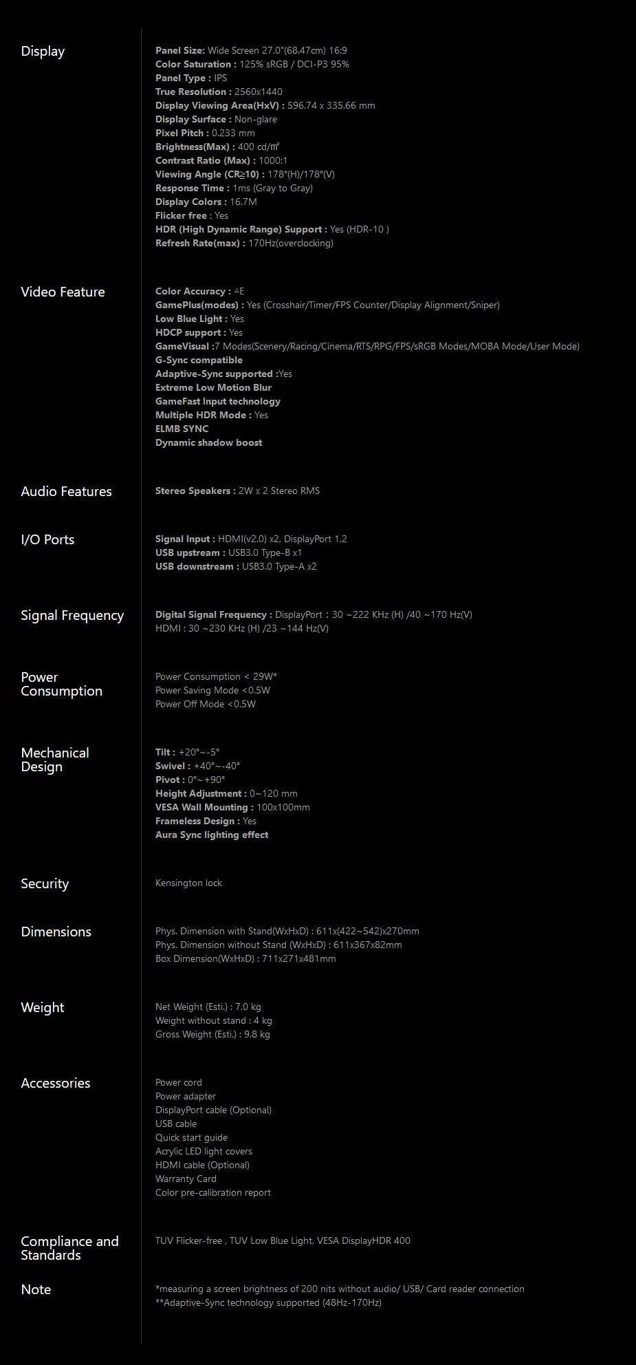 "ASUS ROG Strix XG279Q 27"" 170Hz WQHD 1ms G-Sync Ready HDR Gaming Monitor - Overview 2"