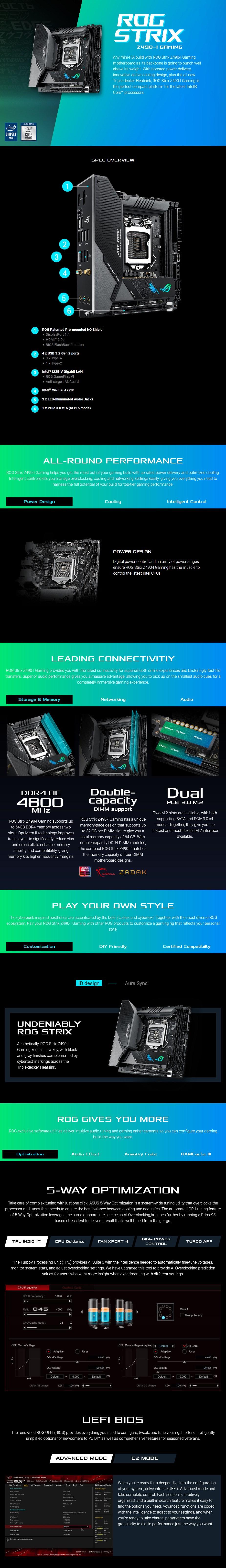 ASUS ROG STRIX Z490-I GAMING LGA 1200 Mini-ITX Motherboard - Overview 1