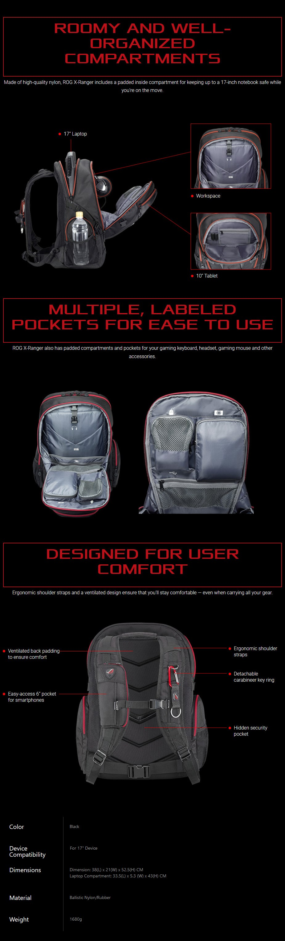 """ASUS ROG XRANGER Backpack for 17"""" Devices - Overview 1"""