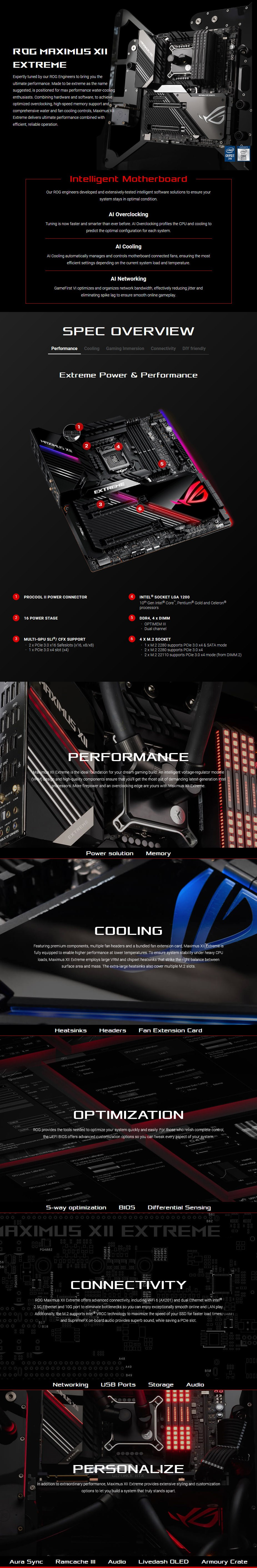 ASUS ROG Z490 MAXIMUS XII EXTREME LGA 1200 E-ATX Motherboard - Overview 1