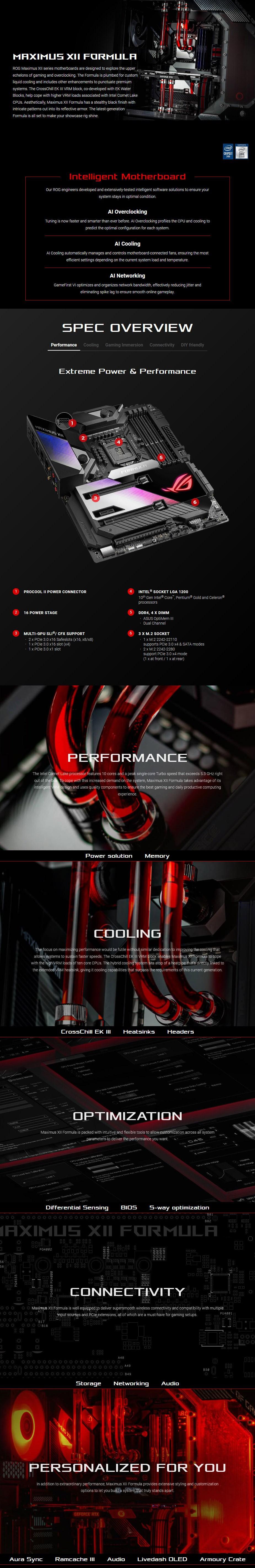 ASUS ROG Z490 MAXIMUS XII FORMULA LGA 1200 ATX Motherboard - Overview 1
