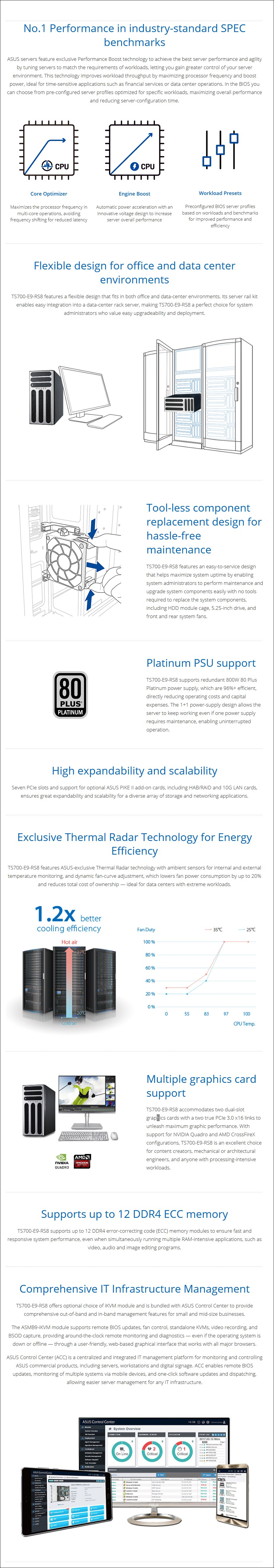 ASUS TS700-E9-RS8 Barebone Tower Server CPU(0/2) RAM(0/12) HDD(0/8) 800W PSU - Overview 1