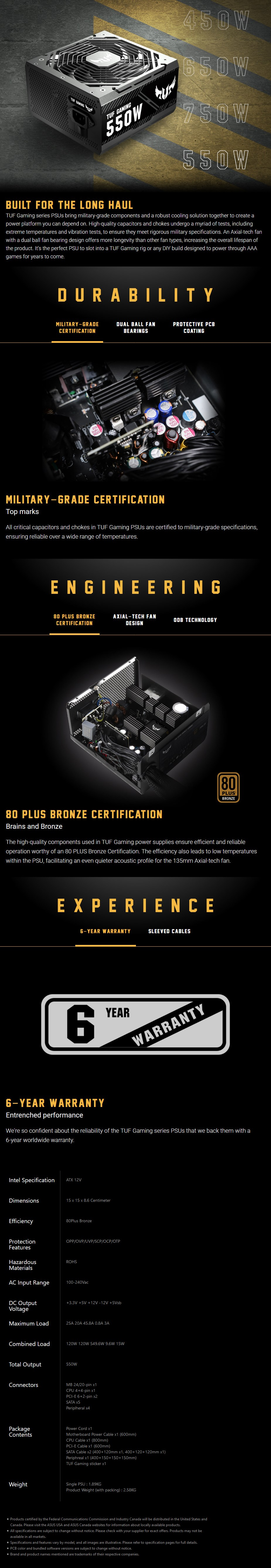 ASUS TUF Gaming 550W 80+ Bronze Non Modular Power Supply - Overview 1