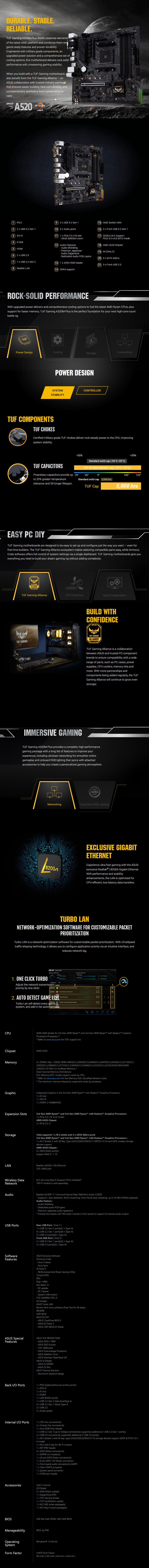ASUS TUF GAMING A520M-PLUS AM4 Micro-ATX Motherboard - Overview 1