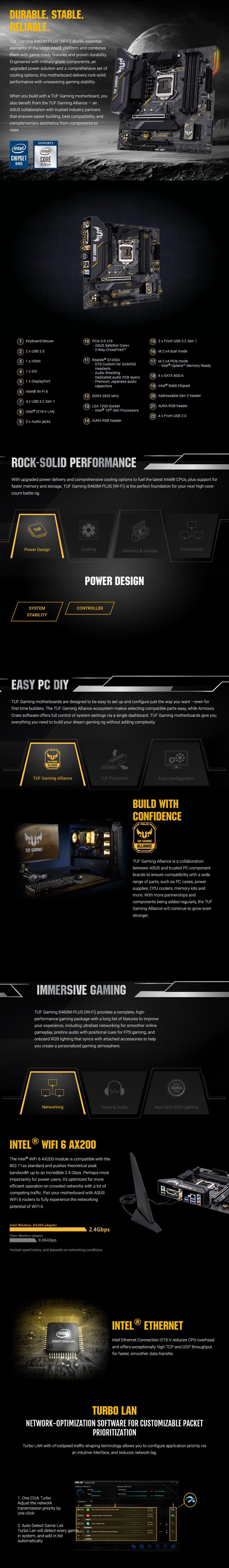 ASUS TUF GAMING B460M-PLUS WIFI LGA 1200 Micro-ATX Motherboard - Overview 1