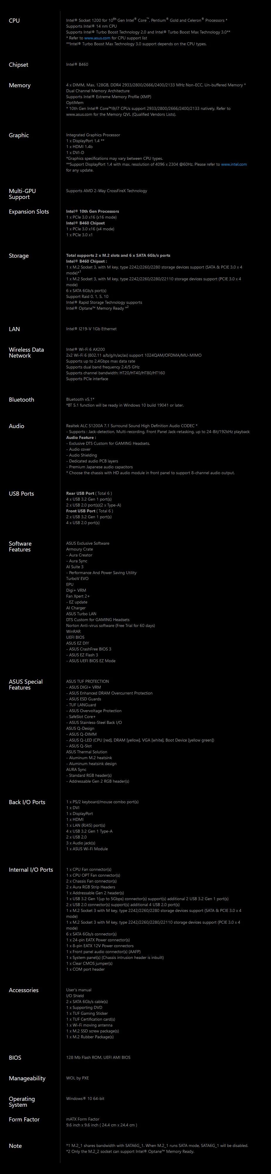 ASUS TUF GAMING B460M-PLUS WIFI LGA 1200 Micro-ATX Motherboard - Overview 2