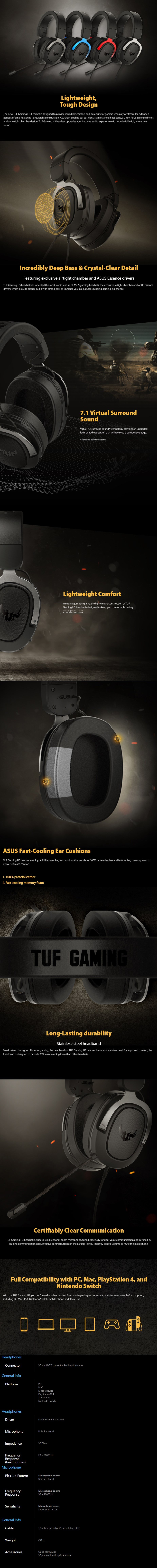 ASUS TUF Gaming H3 Wired Headset - Gun Metal - Overview 1