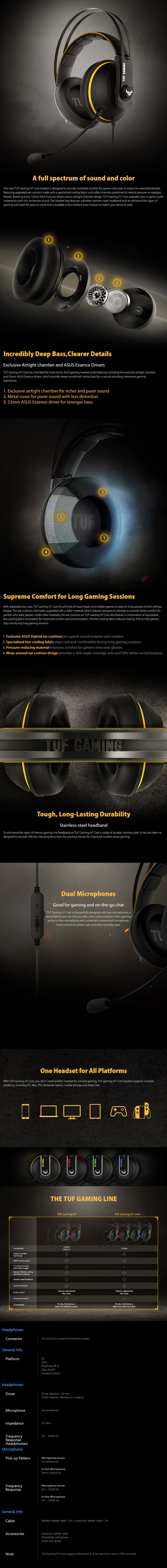 ASUS TUF Gaming H7 Core Gaming Headset - Yellow - Overview 1