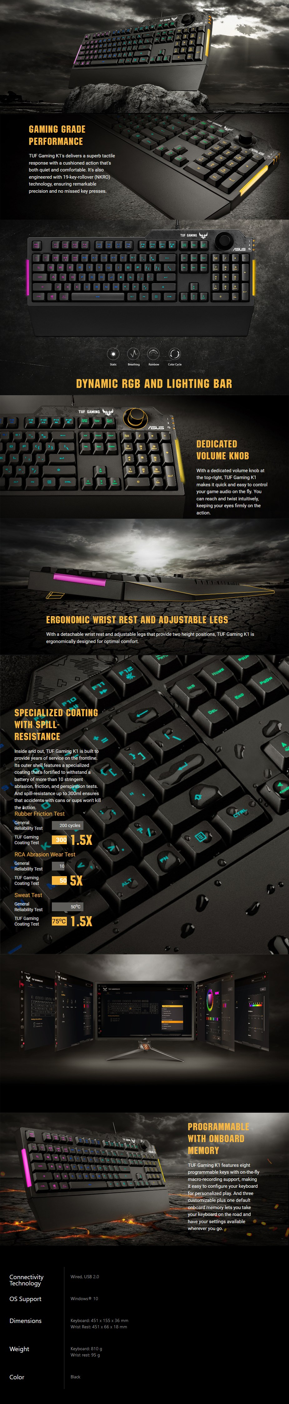 ASUS TUF Gaming K1 RGB Gaming Keyboard - Overview 1