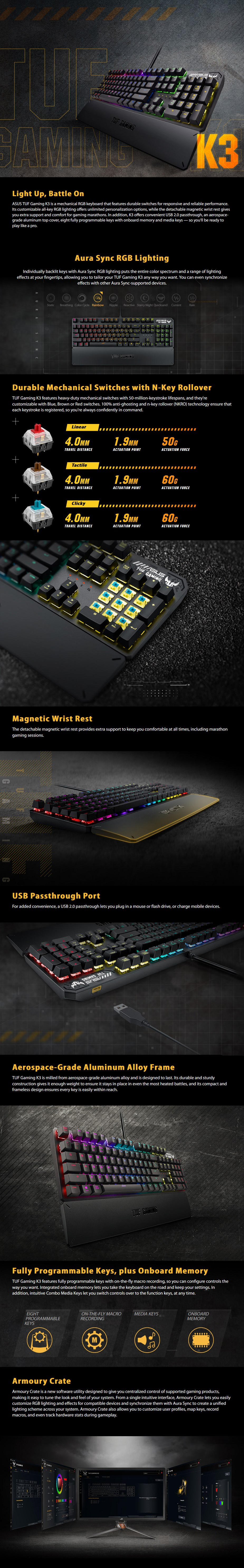 ASUS TUF Gaming K3 Mechanical Gaming Keyboard - Overview 1