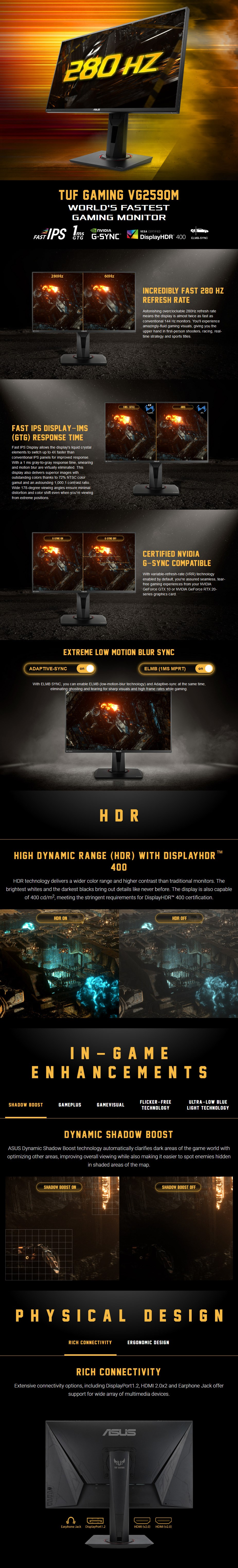 """ASUS TUF Gaming VG259QM 24.5"""" 280Hz Full HD 1ms G-Sync Ready IPS Gaming Monitor - Overview 1"""