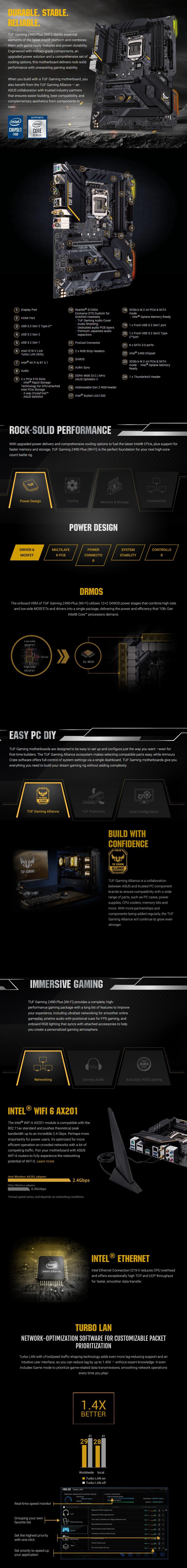 ASUS TUF GAMING Z490-PLUS WI-FI LGA 1200 ATX Motherboard - Overview 1