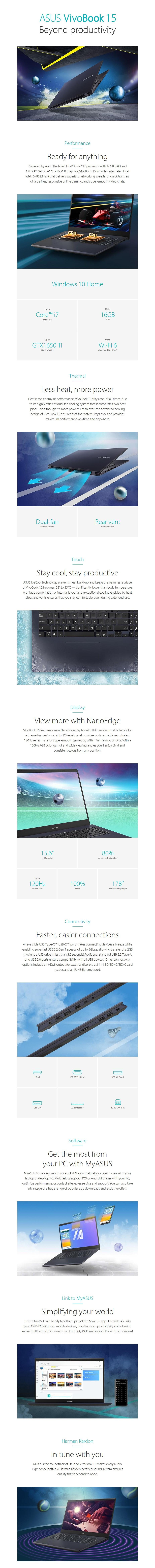 "ASUS VivoBook 15 X571LI 15.6"" 120Hz Laptop i7-10750H 16GB 512GB 1650Ti W10H - Overview 1"