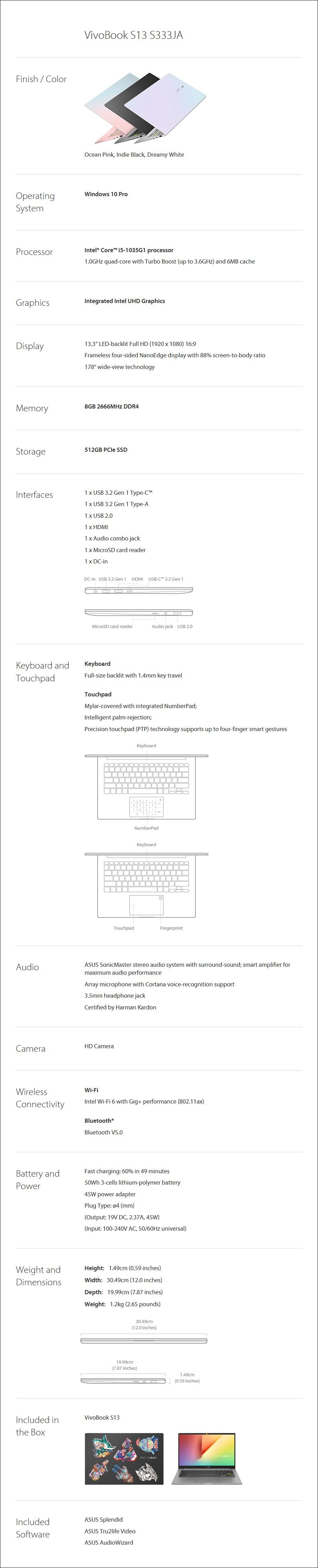 "ASUS VivoBook S13 S333JA 13.3"" Laptop i5-10351G1 8GB 512GB W10P - Overview 2"