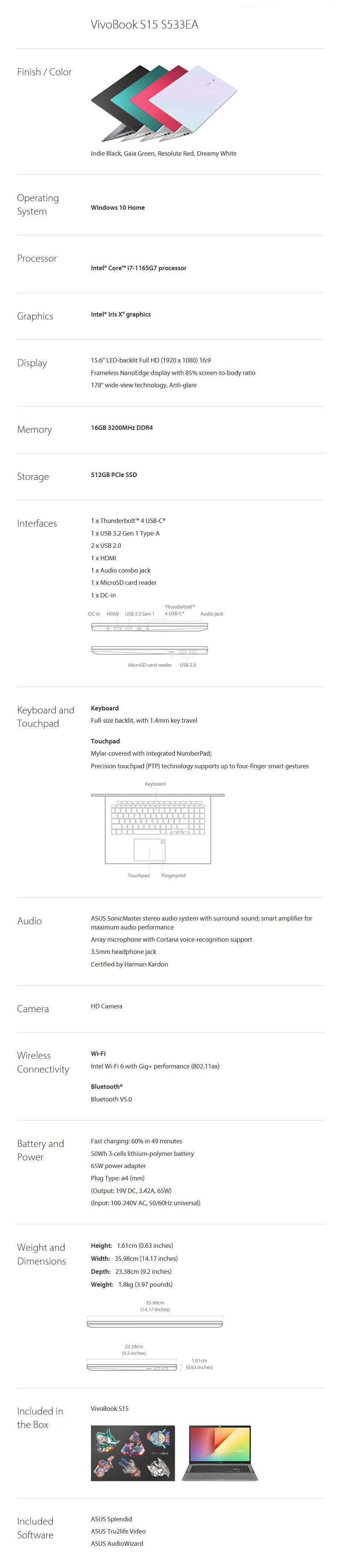 "ASUS VivoBook S15 S533EA 15.6"" Laptop i7-1165G7 16GB 512GB W10H - Black - Overview 2"