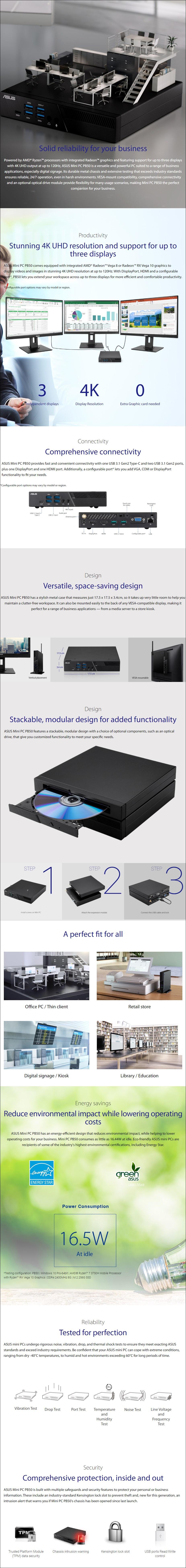 ASUS VivoMini PB50 Barebone Kit - AMD Ryzen 7 3750H - Overview 1