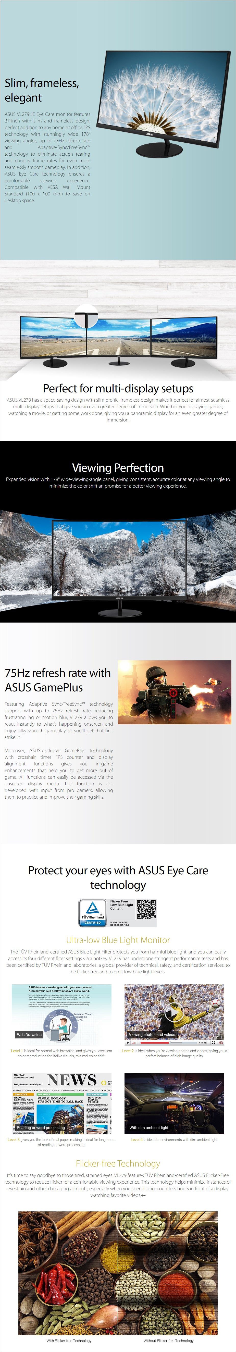 """ASUS VL279HE 27"""" 75Hz Full HD FreeSync Eye Care IPS Monitor - Overview 1"""