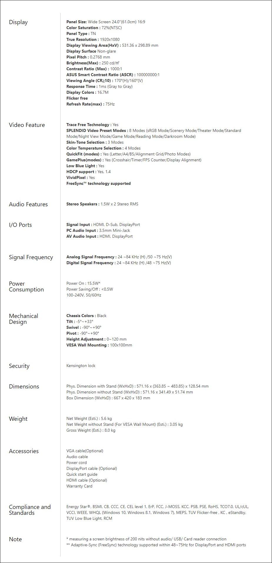 "ASUS VP248QGL 24"" 75Hz Full HD 1ms FreeSync TN Gaming Monitor - Overview 2"