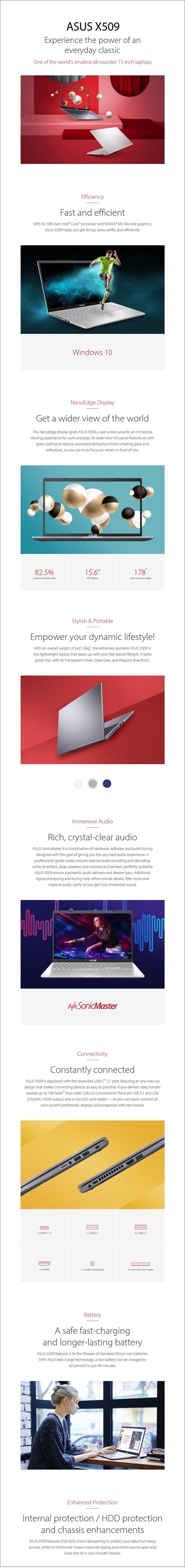 "ASUS X509JB-BR167T 15.6"" Laptop i5-1035G1 8GB 512GB MX110 W10H - Overview 1"