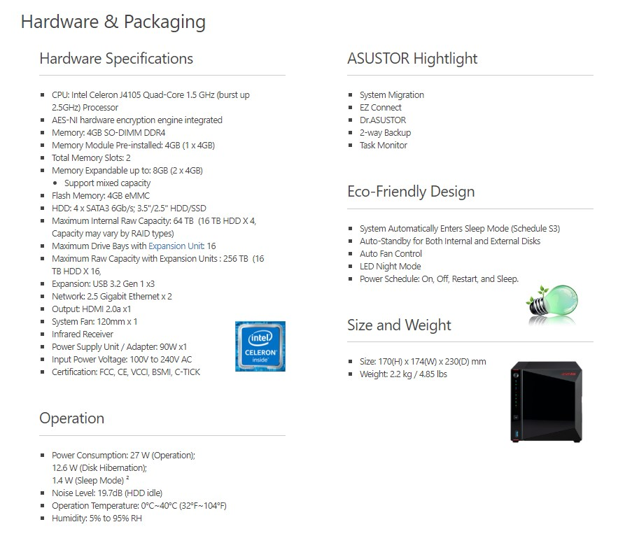 Asustor AS5304T 4-Bay Diskless NAS Celeron Quad Core 1.5GHz CPU 4GB RAM - Overview 2