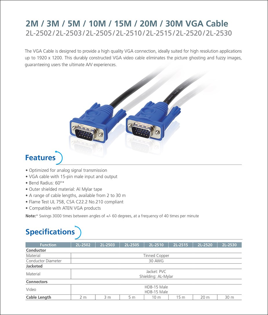 ATEN 2L-2502 2m 15-Pin VGA Cable - Male to Male - Overview 1