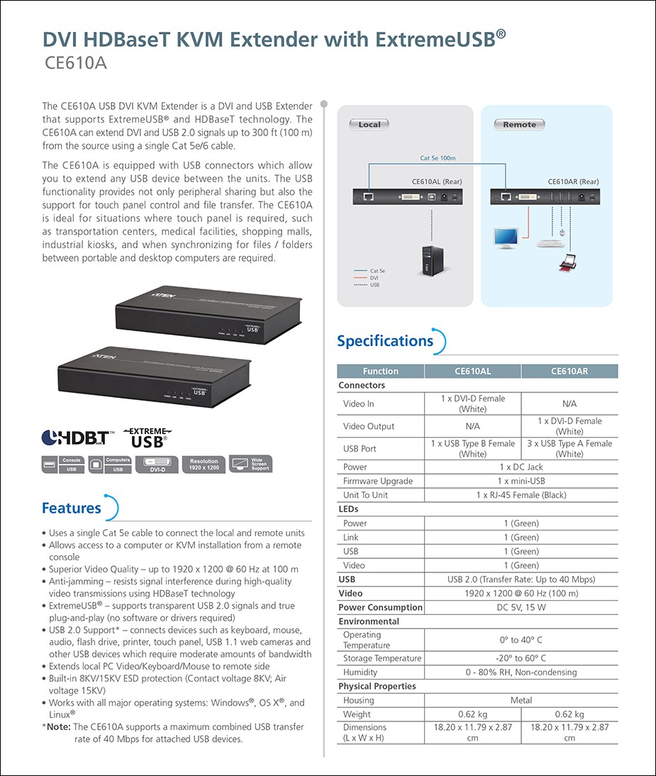 ATEN CE610A DVI HDBaseT KVM Extender with ExtremeUSB - Full HD @ 100m - Overview 1