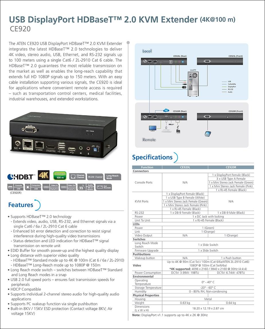ATEN CE920 USB DisplayPort HDBaseT 2.0 KVM Extender - Overview 1