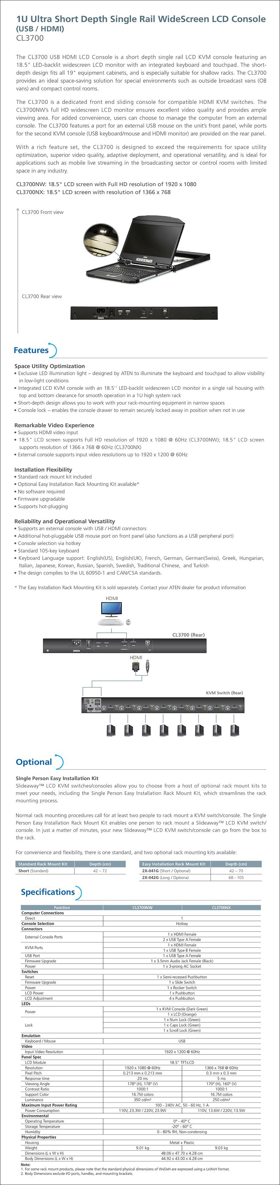 "ATEN CL3700 18.5"" HD 1U Ultra Short Depth Single Rail WideScreen LCD Console - Overview 1"