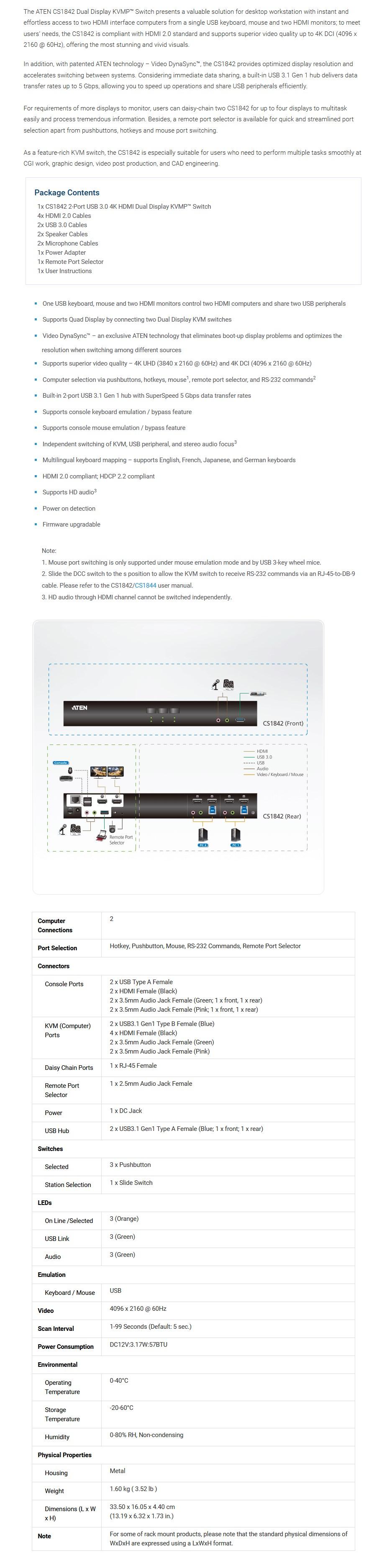 Aten CS1842 2-Port USB3.0 4K HDMI Dual Display KVMP Switch - Overview 1