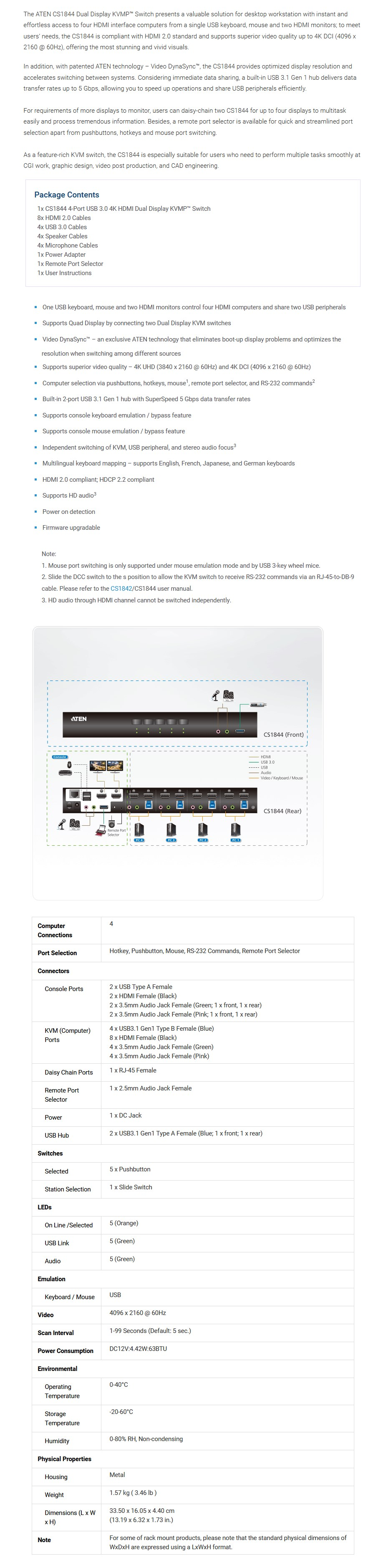 Aten CS1844 4-Port USB3.0 4K HDMI Dual Display KVMP Switch - Overview 1