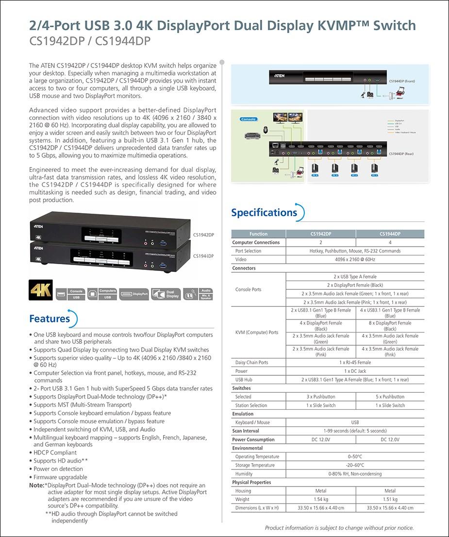 ATEN CS1944DP 4-Port USB 3.0 4K DisplayPort Dual Display KVMP Switch - Overview 1